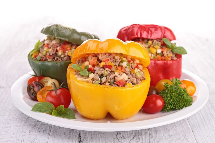 Stuffed bell peppers with ground beef