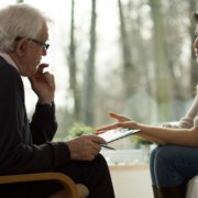 Woman with ptsd in counseling