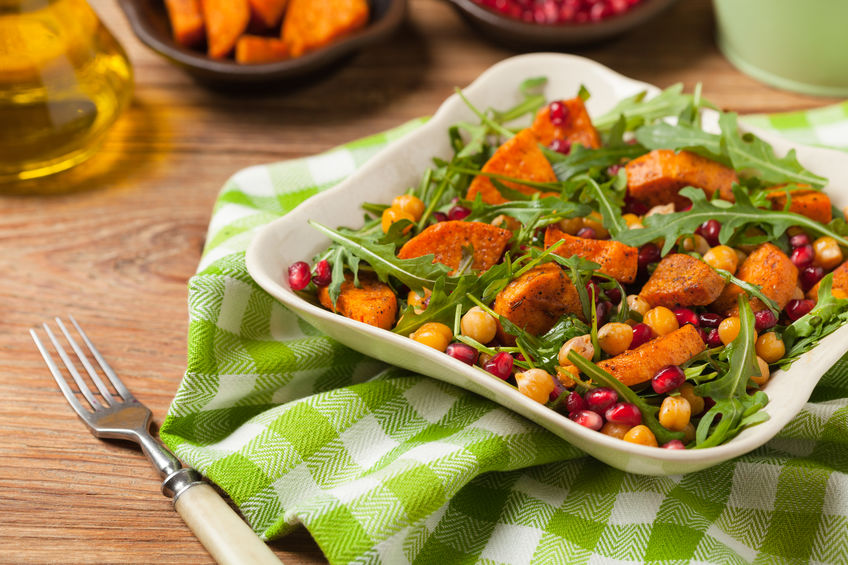Kale salad with roasted sweet potatoes