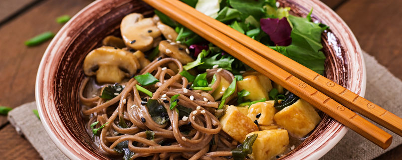 mushroom soba noodle bowl with tofu